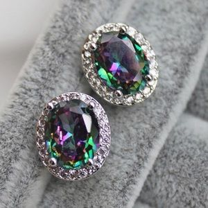 Mystical topaz 18k white gold filled earrings